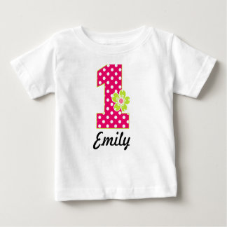 1st Birthday Girl Hot Pink & Green Dots T Shirt