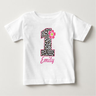 1st Birthday Girl Hot Pink & leopard print Baby T-Shirt