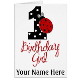 1st Birthday Girl - Lady Bug - 1 - Ladybug Card