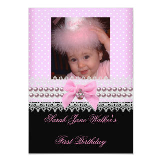 "1st Birthday Girl Pink White Pearl Photo First 2 5"" X 7"" Invitation Card"