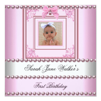 1st Birthday Girl Pink White Pearl Photo First 2 Custom Announcement