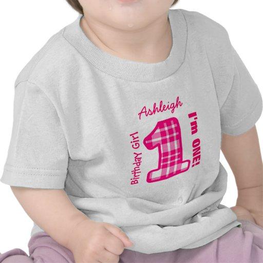 1st Birthday Girl PLAID One Year Custom Name V03B T-shirts
