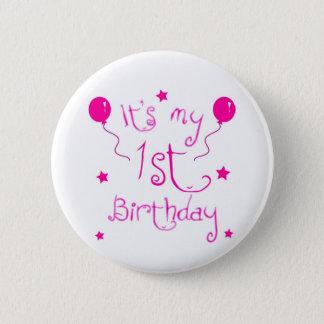1st birthday girl theme 2 inch round button