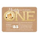 "1st Birthday Gold Glitter One Photo Invitation 5"" X 7"" Invitation Card"