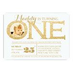 1st Birthday Gold Glitter One Photo Invitation