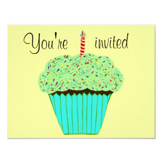 1st Birthday Green Cupcake Invitation CUSTOMIZE Personalized Announcement