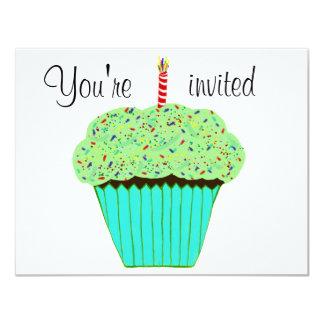 1st Birthday Green Cupcake Invitation CUSTOMIZE Custom Announcement