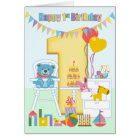 1st Birthday Greeting Card, Happy First Birthday Card