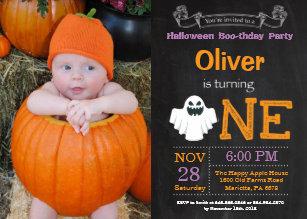 Halloween birthday invitations announcements zazzle ca 1st birthday halloween party photo invitation filmwisefo