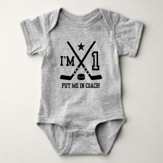1st Birthday Hockey Baby Bodysuit