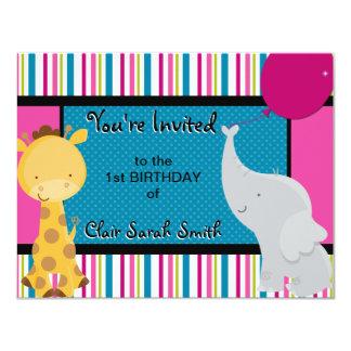 1st Birthday Invitation - Colorful Jungle Animals