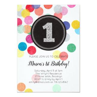 1st birthday invitation rainbow confetti & silver