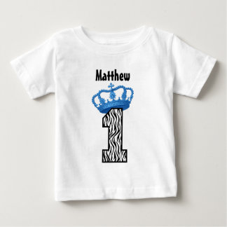 1st Birthday King Crown Zebra One Year Old 4 Baby T-Shirt