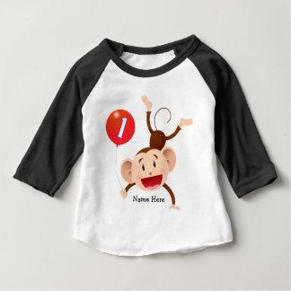 1st Birthday Monkey Custom Baby T-Shirt