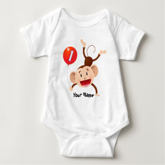 1st Birthday Monkey Customize Baby Bodysuit
