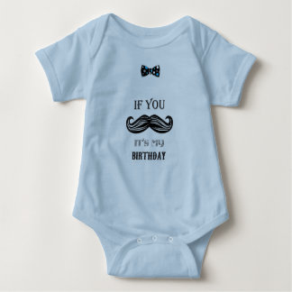 1st Birthday - Mustache - Little Man - Baby Boy Baby Bodysuit