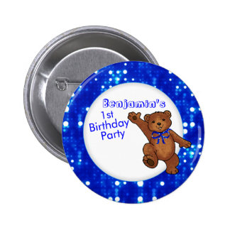 1st Birthday Party Bear Guest 2 Inch Round Button