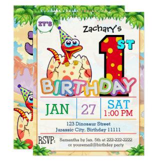1st Birthday Party Dinosaur Invitation