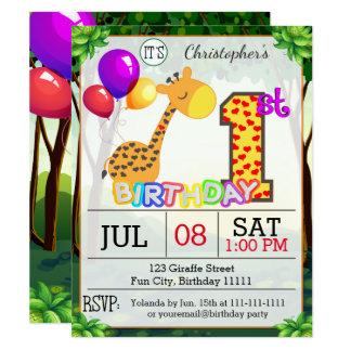 1st Birthday Party Giraffe Invitation