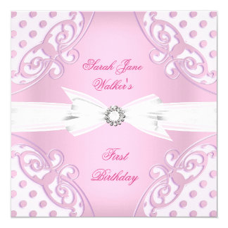 "1st Birthday Party Girl Pink White Polka Dot bow 5.25"" Square Invitation Card"