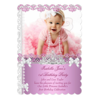 "1st Birthday Party Girl Princess Pink Photo First 5"" X 7"" Invitation Card"