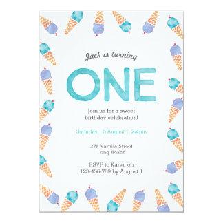 1st Birthday Party | Ice cream invitation
