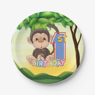 1st Birthday Party Monkey Paper Plate