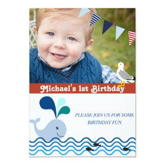 1st Birthday Party, Nautical Invitation