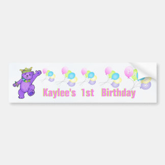 1st Birthday Party Purple Princess Bear Car Bumper Sticker