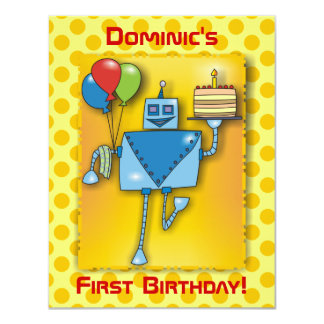 1st Birthday Party Robot with Cake Yellow Invite