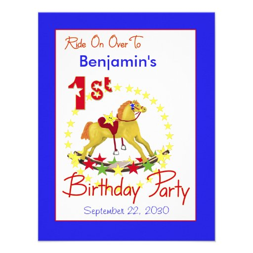1st Birthday Party Rocking Horse Personalized Invites