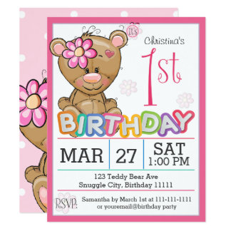 1st Birthday Party Teddy Bear Invitation