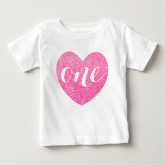1st Birthday Pink Glitter Heart-Print Personalized Baby T-Shirt