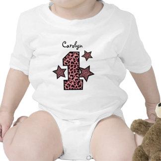 1st Birthday PINK Leopard Big Number Stars GIRL Baby Bodysuit