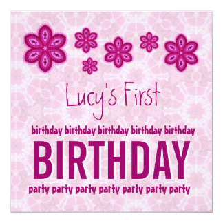 """1st Birthday Pink Pattern First For Baby Girl 5.25"""" Square Invitation Card"""