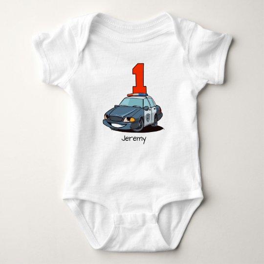 1st Birthday Police Car Baby Bodysuit