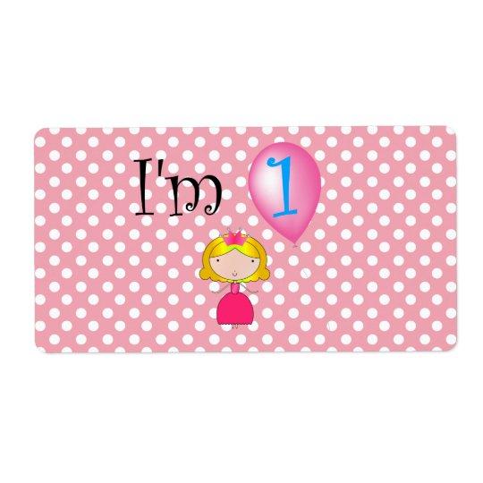 1st Birthday princess pink polka dots