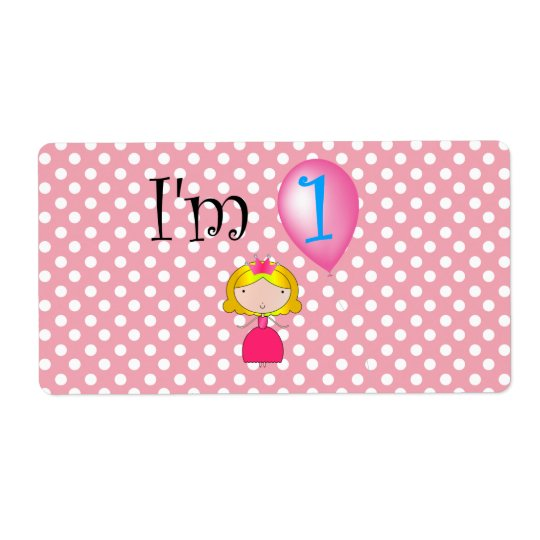 1st Birthday princess pink polka dots Shipping Label