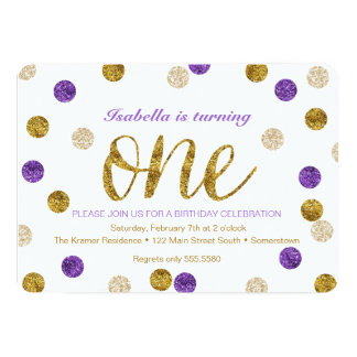 "1st Birthday-Purple and Gold Glitter 5"" X 7"" Invitation Card"