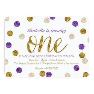 "1st Birthday-Purple and Gold Glitter 5"" X 7"" Invitation Card"