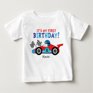 1st Birthday Race Car Red and Blue Baby T-Shirt