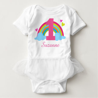 1st Birthday Rainbow Personalized Tutu T-shirt