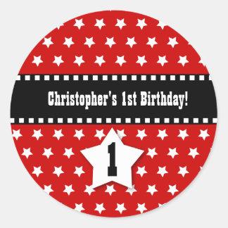 1st Birthday Red Stars Dashed Ribbon W001 Classic Round Sticker