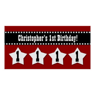1st Birthday Red Stars Dashed Ribbon W001 Poster