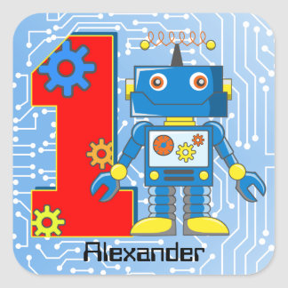 1st Birthday Robot Custom Square Sticker