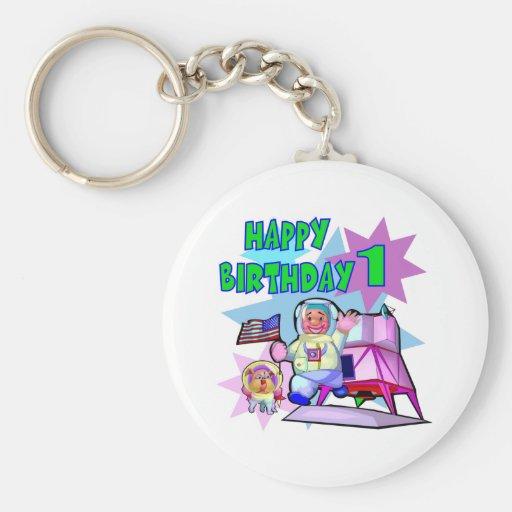 1st Birthday Space Birthday Keychains