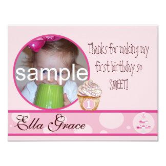 "1st Birthday Thank you card 4.25"" X 5.5"" Invitation Card"