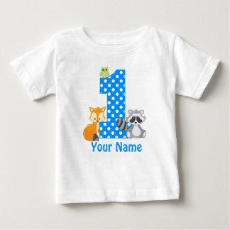 1st Birthday Woodland Blue Personalized T-shirt
