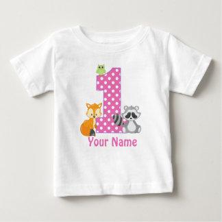 1st Birthday Woodland Pink Personalized T-shirt