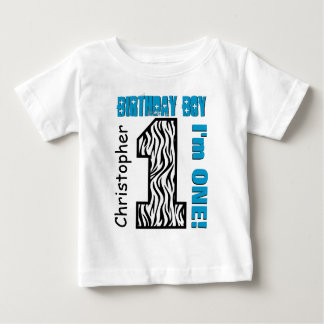 1st Birthday Zebra One Year Old Custom Name V002 Baby T-Shirt